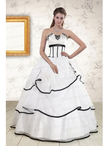 Cheap White and Black 2015 Quinceanera Dresses with Appliques