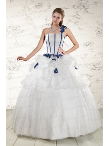 Elegant White One Shoulder Hand Made Flower Quinceanera Dress for 2015