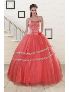 New Style Beaded Watermelon Quinceanera Dresses for 2015