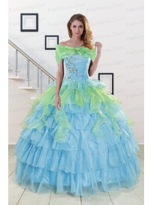 Pretty Beading Strapless Multi Color Quinceanera Dress for 2015