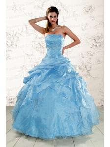 2015 Hot Sale Appliques Quinceanera Dresses in Aqua Blue