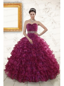 Beading and Ruffles The Most Popular Burgundy Quinceanera Gown