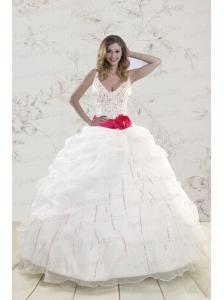 Elegant Halter Belt Beading White 2015 Quinceanera Dresses