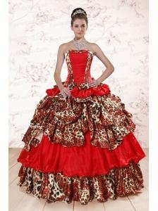 Unique Leopard Multi Color 2015 Quinceanera Dresses with Strapless