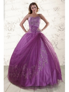 2015 Beautiful Sweetheart Purple Quinceanera Dresses with Embroidery