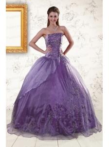 2015 Discount Purple Strapless Appliques Quinceanera Dresses