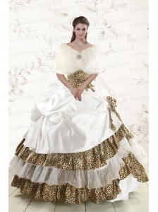 2015 Unique Strapless Leopard Quinceanera Dresses with Hand Made Flower