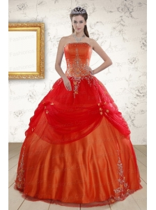 Beautiful Strapless Appliques Sweet 16 Dresses in Orange Red