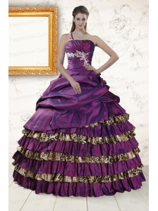 Classic One Shoulder Quinceanera Dresses with Beading and Leopard