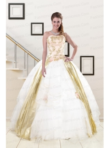 Popular Strapless White 2015 Quinceanera Dresses with Appliques