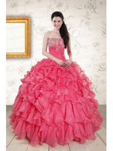2015 Hot Pink Strapless Quinceanera Dresses with Beading and Ruffles