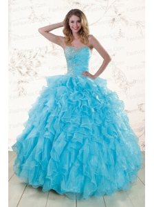 Baby Blue 2015 Prefect Beading and Ruffles Quinceanera Dresses
