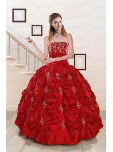 Cheap Sweetheart Appiques and Beaded 2015 Quinceanera Dresses in Red