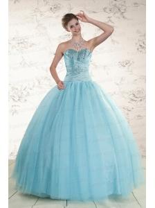Elegant Beading 2015 Quinceanera Dress in Baby Blue