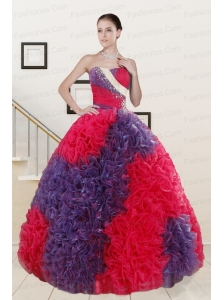 Wonderful Beading and Ruffles Multi Color Quinceanera Dresses