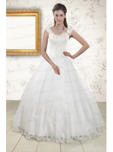 2015 Discount Straps Quinceanera Dresses with Appliques and Beading
