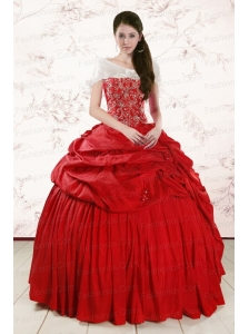 2015 Discount Sweetheart Beading Quinceanera Dresses in Red