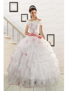 Appliques and Belt 2015 Brand New Quinceanera Dresses
