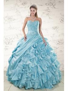 Beading Ruffles Aqua Blue Organza Quinceanera Dresses for 2015