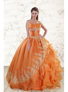 Cheap Strapless Appliques 2015 Quinceanera Dresses in Orange