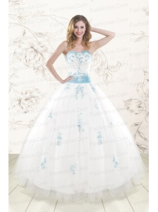 Cheap White Ball Gown Quinceanera Dresses with Appliques and Beading