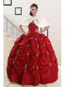 Discount Strapless Appliques Wine Red Quinceanera Dresses for 2015