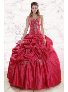 Puffy Strapless Hot Pink Quinceanera Dresses with Embroidery