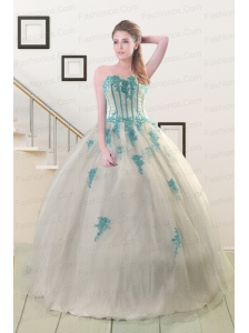2015 Cheap Appliques Quinceanera Dresses in White