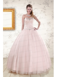 2015 Lovely Light Pink Beading Quinceanera Dresses