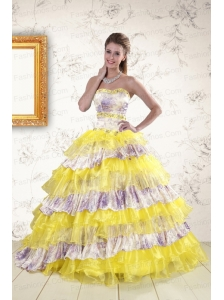 2015 Printed and Ruffles Multi Color Quinceanera Dresses