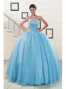 Aqua Blue Super Hot Puffy Sweet 16 Dresses for 2015
