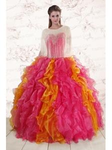 Inexpensive Beading Quinceanera Dresses in Multi Color