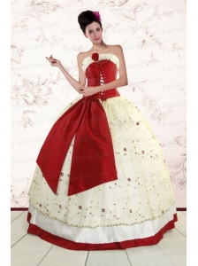 Popular Multi Color 2015 Quinceanera Gowns with Appliques and Bowknots