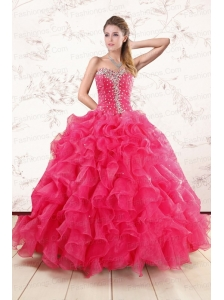 Pretty Beading and Ruffles Sweet 15 Dresses in Hot Pink