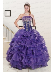 2015 Prefect Purple Sweet 15 Dresses with Embroidery and Ruffles