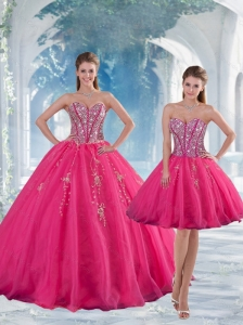 2015 Detachable Hot Pink Sequins and Appliques Prom Dresses