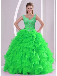 Detachable Beading and Ruffles Spring Green Quinceanera Dresses