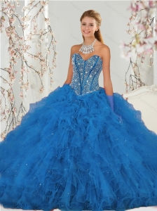 2015 Detachable Beading and Ruffles Aqua Blue Quince Dresses