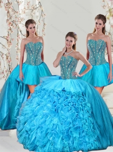 Detachable Aqua Blue Sweet 15 Dresses with Beading and Ruffles for 2015