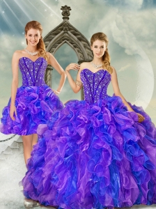 Detachable Beading and Ruffles Quince Dresses in Purple and Blue for 2015