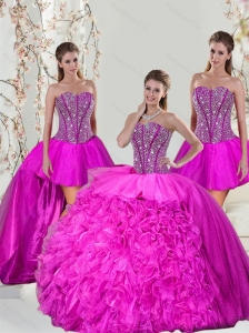 2015 Spring Custom Made and Detachable Hot Pink Sweet 16 Dresses with Beading and Ruffles