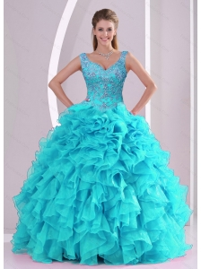 Detachable Beading and Ruffles Quinceanera Dresses in Aqua Blue