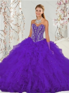 Detachable Purple Sweet 16 Dresses with Beading and Ruffles