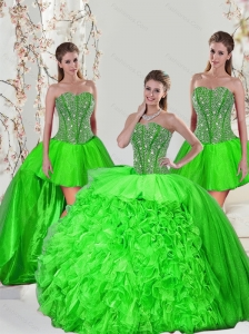 Detachable Beading and Ruffles Quince Dresses in Spring Green for 2015