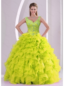 Detachable Beading and Ruffles Yellow Green Quince Dresses for 2015