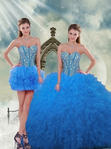 Most Popular Aqua Blue Sweet 16 Dresses with Beading and Ruffles
