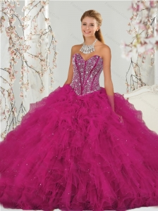 Puffy Beading and Ruffles Dresses for Quince in Red for 2015