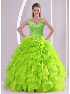 Puffy Beading and Ruffles Quince Dresses in Green