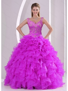 Puffy Fuchsia Quince Dresses with Beading and Ruffles