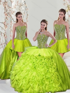 2015 Detachable Beading and Ruffles Yellow Green Dresses for Quince